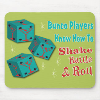 Shake, Rattle and Roll Martinit Dice Bunco Design Mouse Pad