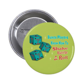 Shake, Rattle and Roll Martinit Dice Bunco Design Pinback Button