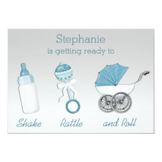 Shake Rattle and Roll Silver Blue Baby Shower Card