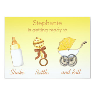 Shake Rattle Roll Neutral Gender Baby Shower Card