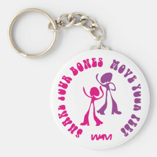 shake your bones move your feet basic round button keychain