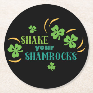 Shake Your Shamrocks Round Paper Coaster