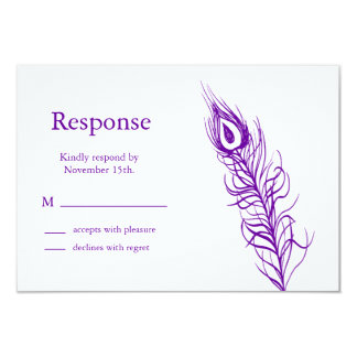 Shake your Tail Feathers RSVP (violet) 3.5x5 Paper Invitation Card