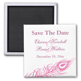 Shake your Tail Feathers Save the Date (fuchsia) 2 Inch Square Magnet