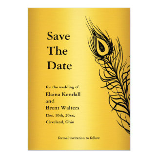 Shake your Tail Feathers Save the Date gold Card