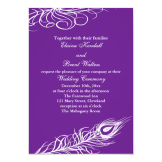 "Shake your Tail Feathers Wedding Invitation violet 5"" X 7"" Invitation Card"