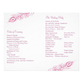 Shake your Tail Feathers Wedding Program