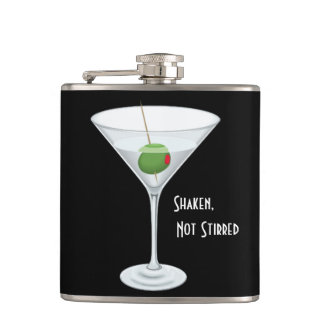 Shaken Not Stirred Martini Glass with Olive Flask