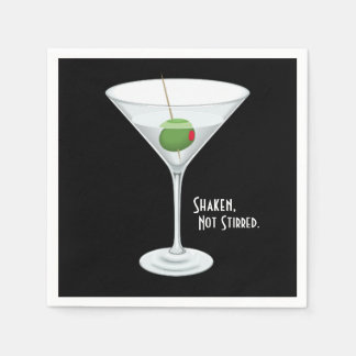 Shaken Not Stirred Vodka Martini Cocktail Drink Napkin