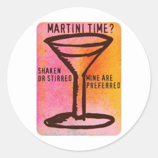 SHAKEN OR STIRRED...MARTINI PRINT CLASSIC ROUND STICKER