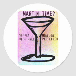 SHAKEN OR STIRRED...MARTINI TIME PASTEL PRINT CLASSIC ROUND STICKER