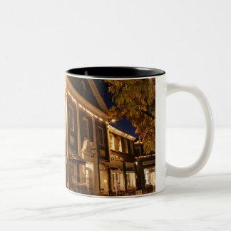 Shaker Square at Night - 1 Two-Tone Coffee Mug