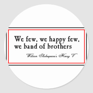 Shakespeare: Band of Brothers Classic Round Sticker