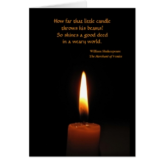 Shakespeare Candle Flame Card