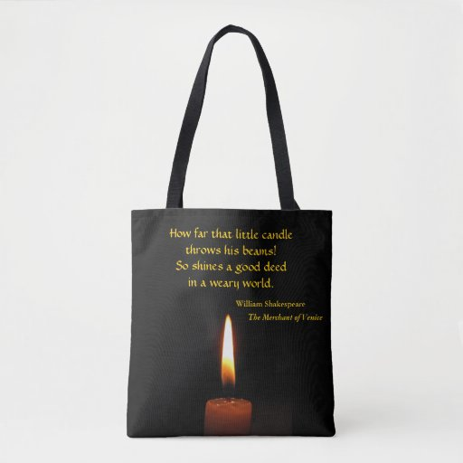 Shakespeare  Candle Flame Quotation Tote Bag