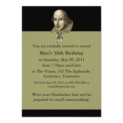 Shakespeare Caricature 5x7 Paper Invitation Card