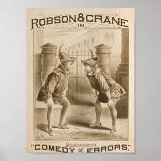 """Shakespeare, """"comedia teatro retro de los errores"""" póster"""