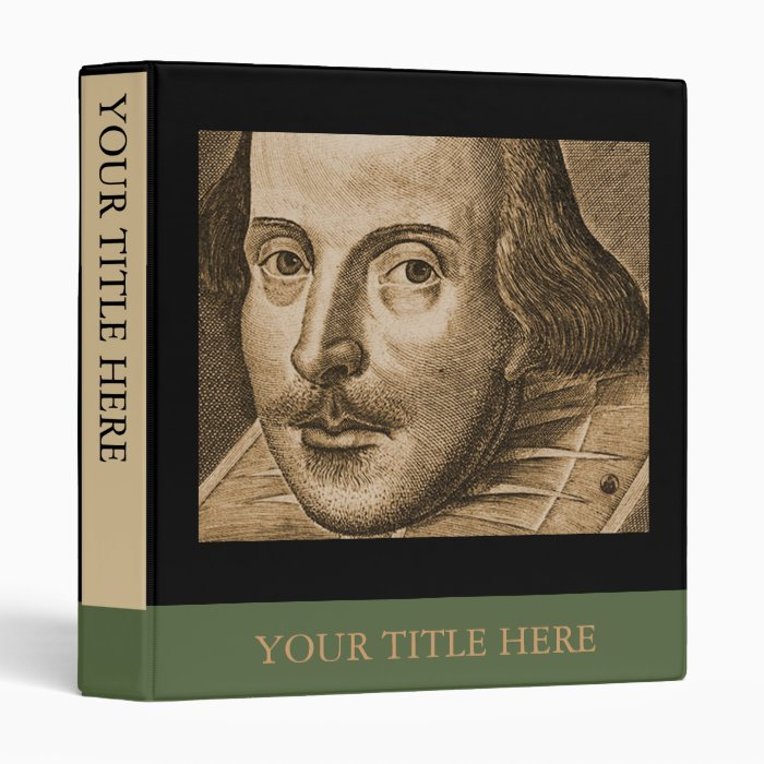 Shakespeare Droeshout Engraving 3 Ring Binder
