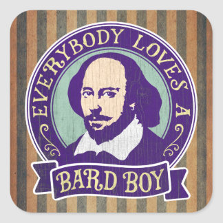 Shakespeare Everybody Loves a Bard Boy Square Sticker