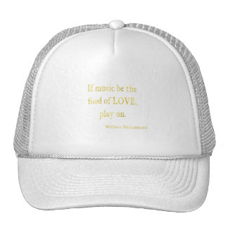 Shakespeare Food of Love Quote Faux Glitter Trucker Hat
