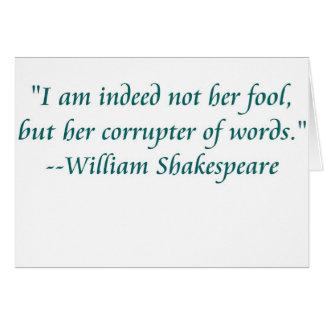 Shakespeare fool words card