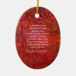 Shakespeare FRIENDSHIP Quote Double-Sided Oval Ceramic Christmas Ornament