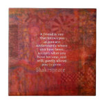 Shakespeare FRIENDSHIP Quote Tile