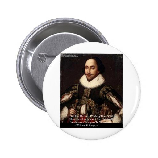 """Shakespeare Halloween """"Hell Contagion"""" Quote Gifts Pinback Buttons"""