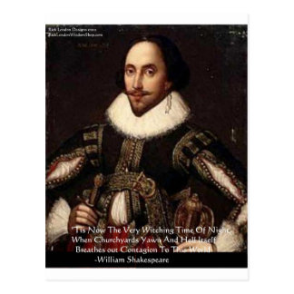 """Shakespeare Halloween """"Hell Contagion"""" Quote Gifts Postcard"""