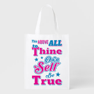 Shakespeare Hamlet To Thine Own Self Be True Quote Grocery Bag