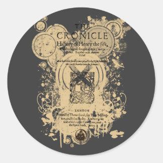 Shakespeare Henry V Quarto Front Piece Classic Round Sticker