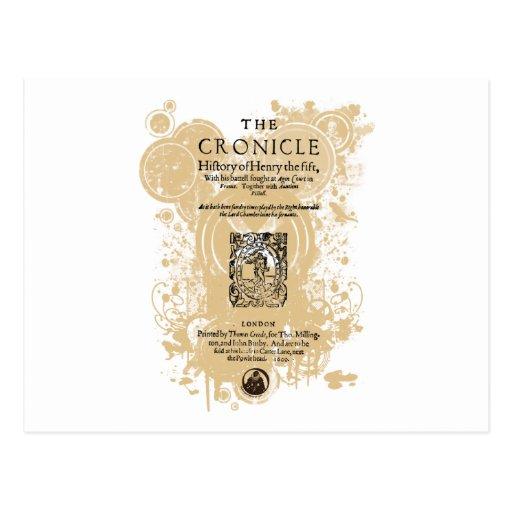 Shakespeare Henry V Quarto Front Piece Postcard