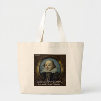 Shakespeare & His Famous Feelings Quote Large Tote Bag