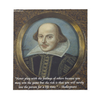 Shakespeare & His Famous Feelings Quote Notepad
