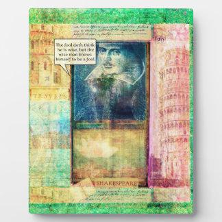 Shakespeare humorous wisdom quote plaque