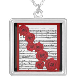 SHAKESPEARE - IF MUSIC BE THE FOOD OF LOVE PLAY ON SILVER PLATED NECKLACE