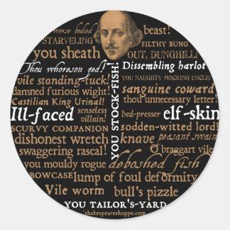Shakespeare insulta la colección pegatina redonda