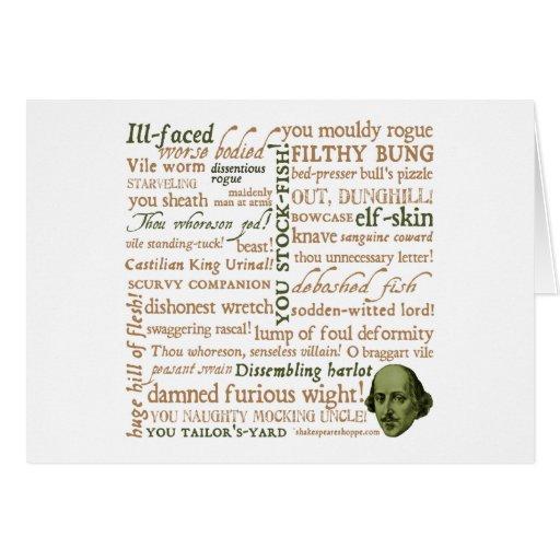 Shakespeare insulta la colección tarjeta de felicitación