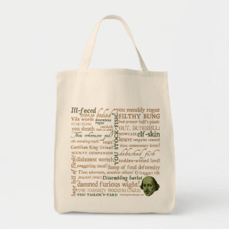 Shakespeare Insults Collection Grocery Tote Bag