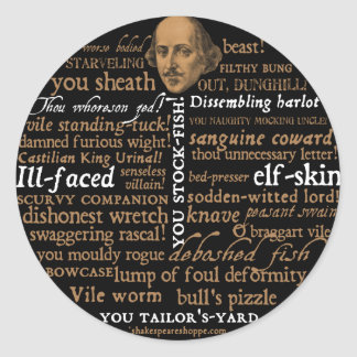 Shakespeare Insults Collection Round Stickers