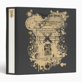 Shakespeare King Lear Quarto Front Piece 3 Ring Binder