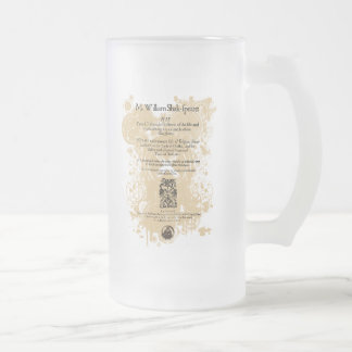 Shakespeare King Lear Quarto Front Piece Frosted Glass Beer Mug