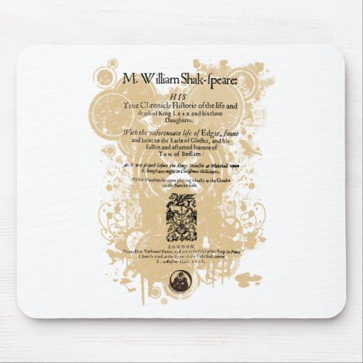 Shakespeare King Lear Quarto Front Piece Mouse Pads