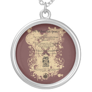 Shakespeare King Lear Quarto Front Piece Personalized Necklace