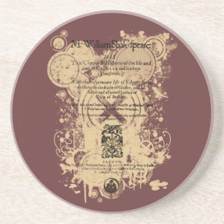 Shakespeare King Lear Quarto Front Piece Sandstone Coaster