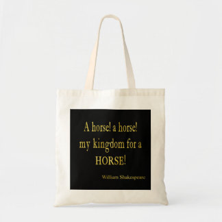 Shakespeare Kingdom for a Horse Quote Faux Glitter Tote Bag