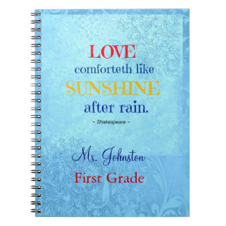 Shakespeare Love Comforteth like Sunshine Teacher Notebook
