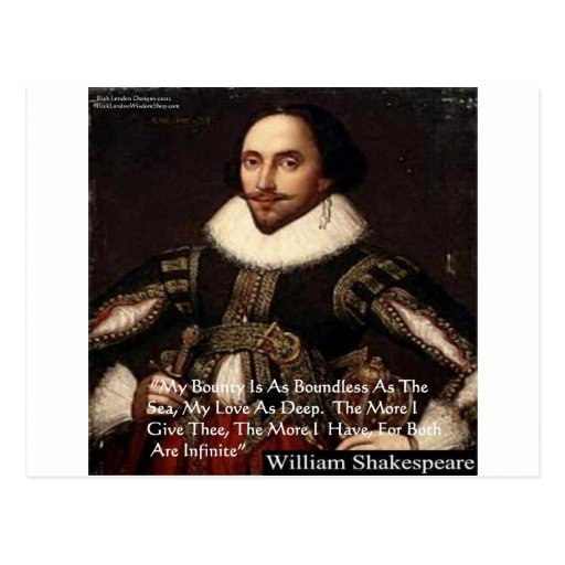 """Shakespeare """"Love Infinite"""" Love Quote Gifts & Tee Postcard"""
