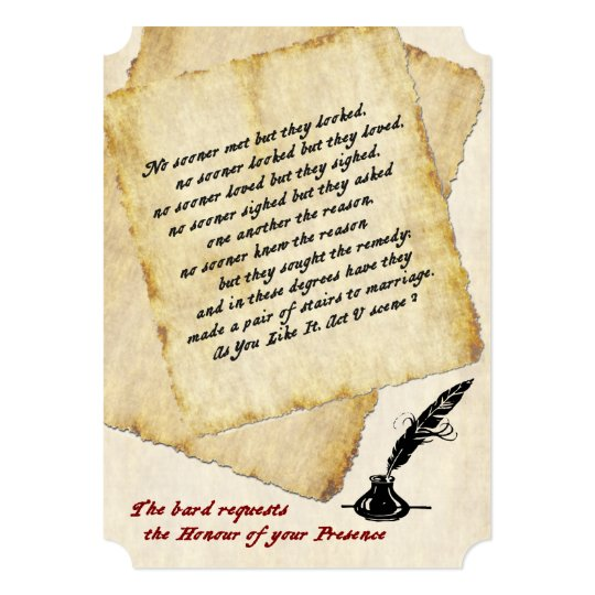 Love Quotes For Wedding Invitations: Shakespeare Love Quotations Wedding Invitation