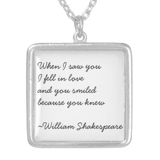 Shakespeare Love Quote Silver Necklace